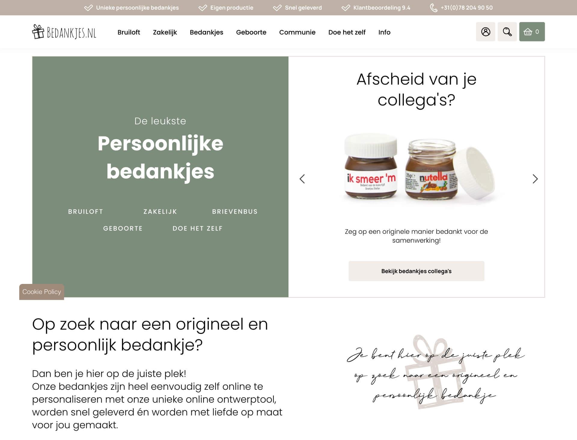 Webpagina van bedankjes.nl | Code