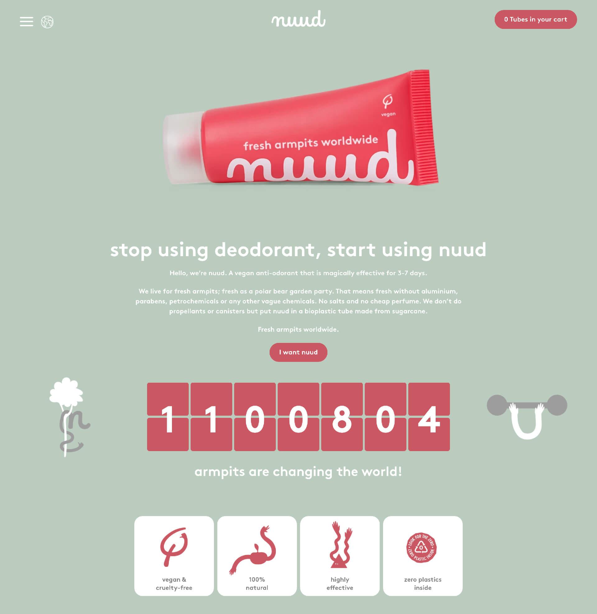 NUUD webpage Shopify
