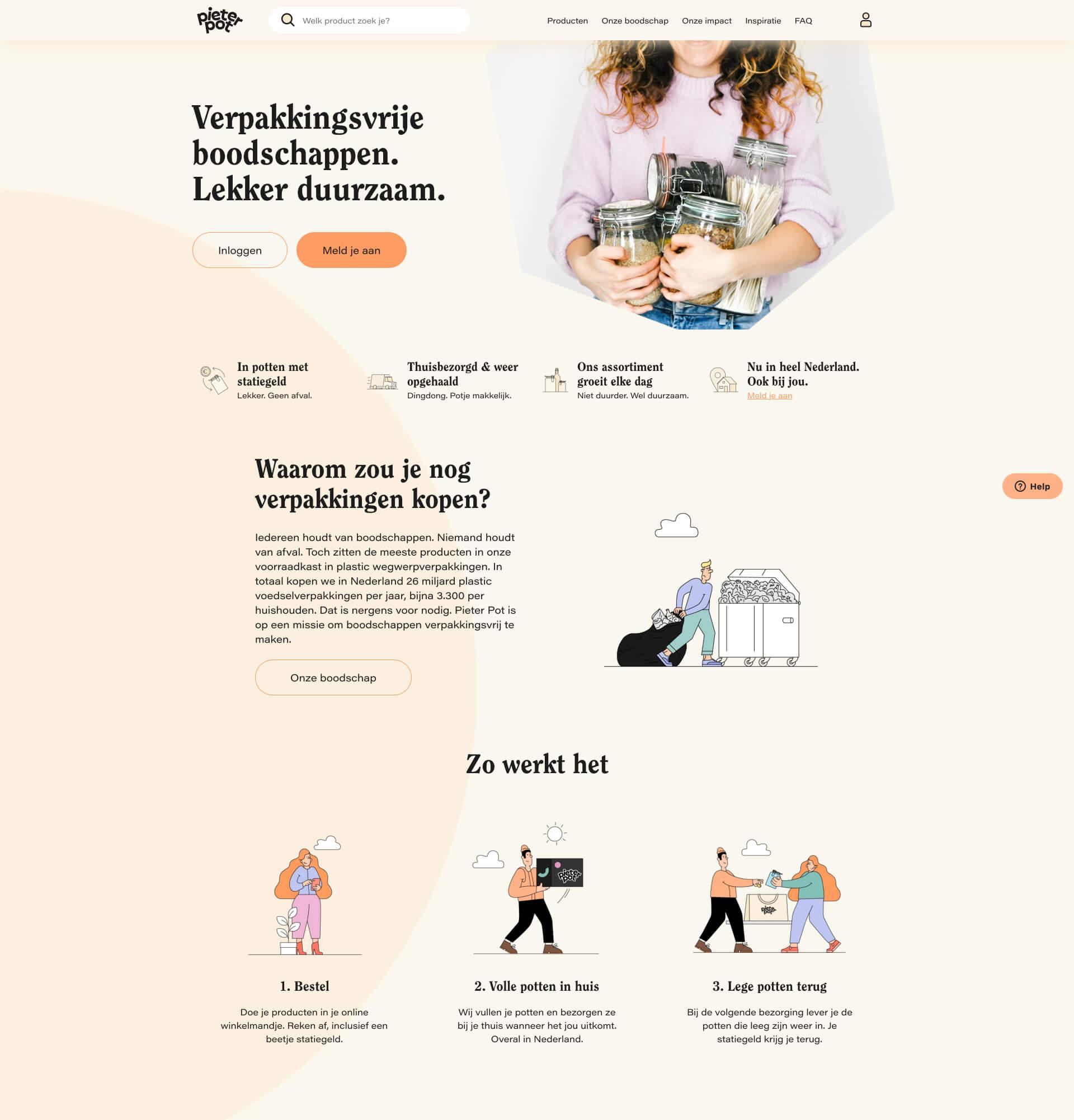 Webpagina van Pieter Pot | Code